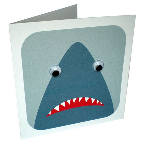 Shark Birthday Card Wobbly Eyed Shark Card By Stripeycats Notonthehighstreet Com