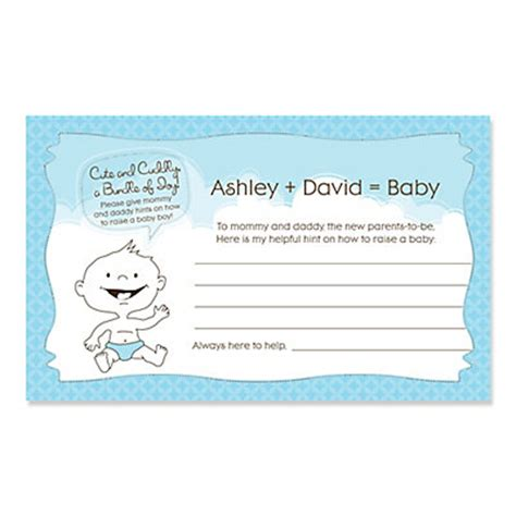 baby boy shower shower advice card 5 25x8 plaid blue baby boy personalized baby shower helpful hint advice