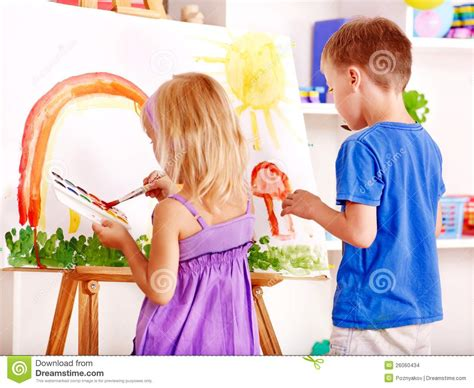 Child Painting At Easel Stock Images Image 26060434 Children Painting Images