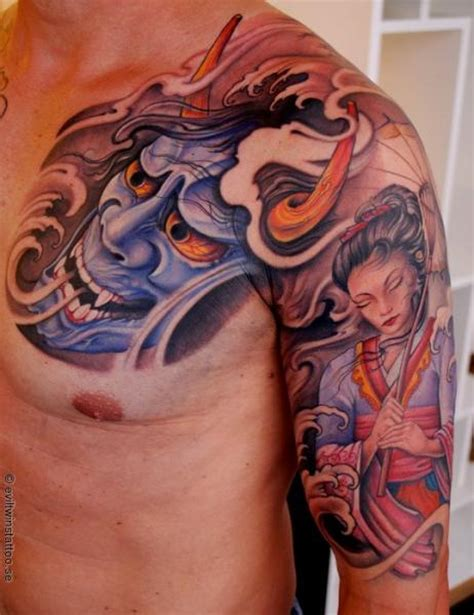 evil geisha tattoo arm chest japanese demon geisha tattoo by evil twins tattoo