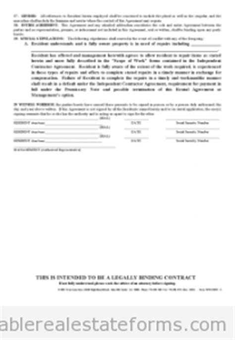 Free Printable Standard Rental Agreement Form (SAMPLE)