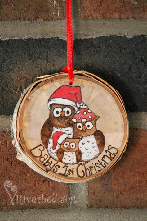 baby s 1st christmas pyrography owl ornament by