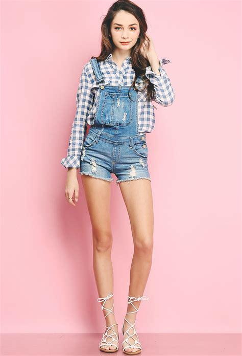 Dress Denim Spandex distressed denim overall shorts shop dresses at papaya clothing