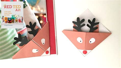 printable christmas origami bookmarks christmas crafts easy reindeer bookmarks for christmas