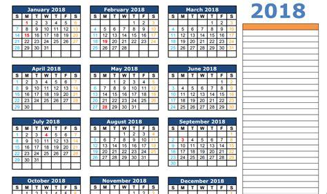 2018 Calendar Excel Template Calendar 2018 Template Excel