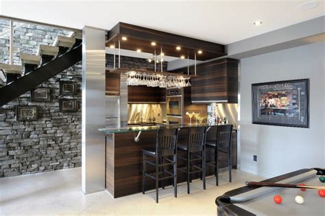 Home Bar Design Houzz Lake Front Basement Bar Contemporary Basement Ottawa