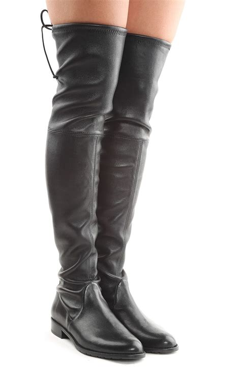 the knee leather boots stuart weitzman stuart weitzman lowland stretch leather