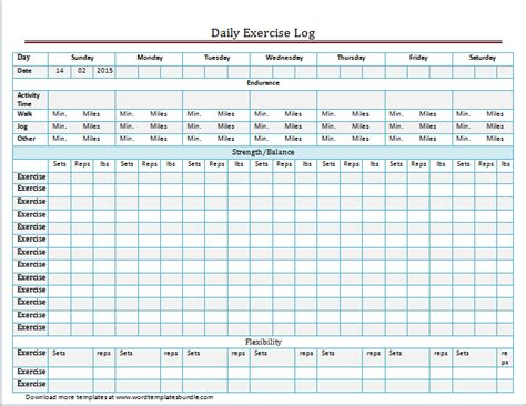 exercise and meal log template for word excel formal