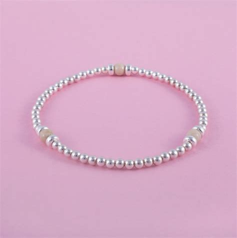 925 Sterling Silver Beaded solid 925 sterling silver and fossil beaded bracelet