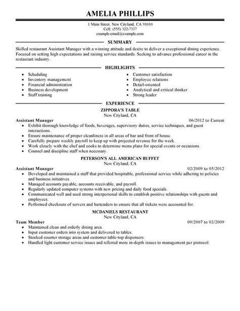 restaurant assistant manager resume sle unforgettable assistant restaurant manager resume exles