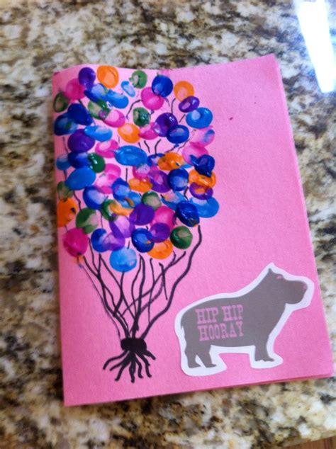 Birthday Papercraft - birthday card from infant toddler thumbprint balloons