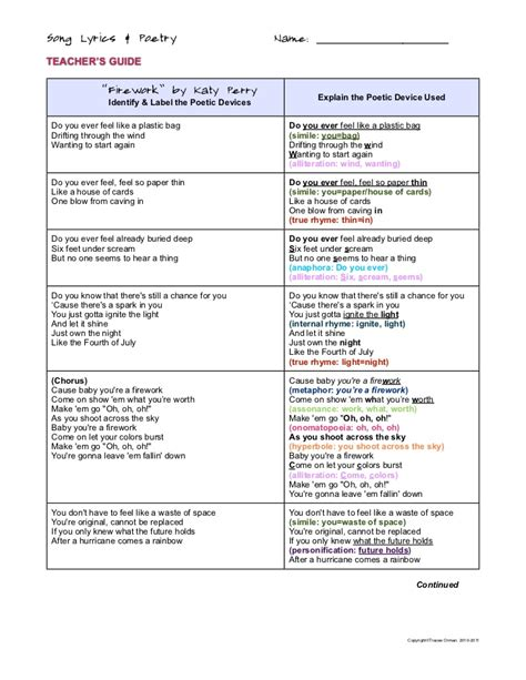identify the poetic device used in this section of text firework poetic devices activity