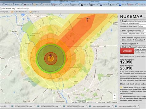 nuclear map nukemap the the maps mash up which