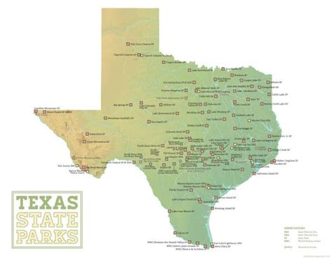map of state parks in texas texas state parks map 11x14 print