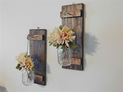 Decorative Wall Sconces For Plants Hanging Mason Jar Wall Sconce Flower Vase Candle Sconce Wall