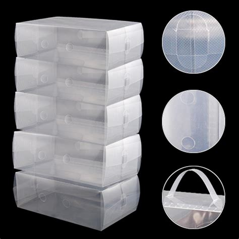 plastic containers for sneakers 5 x clear plastic mens shoe storage boxes containers in