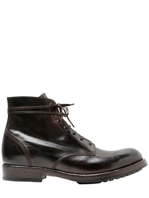 officine creative mens boots officine creative brushed leather lace up boots in brown