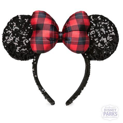 Disney Minnie Ears Headband disney parks minnie mouse plaid sequined ear