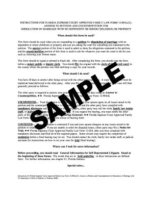 Dissolution Of Marriage Records Florida Answer To Petition And Counterpetition For Dissolution Of Marriage Printable
