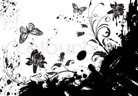 grunge design elements vector grunge flower frame with butterfly element for design