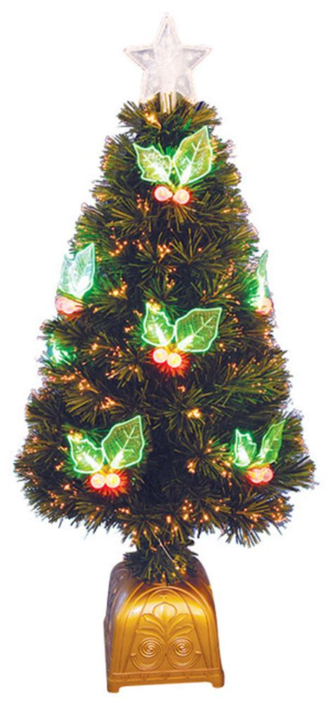 fiber optic christmas items pre lit led color changing fiber optic tree with berries 3 contemporary