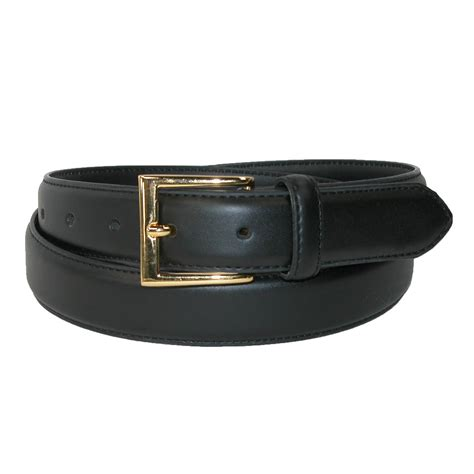 mens leather feather edge gold buckle belt by aquarius