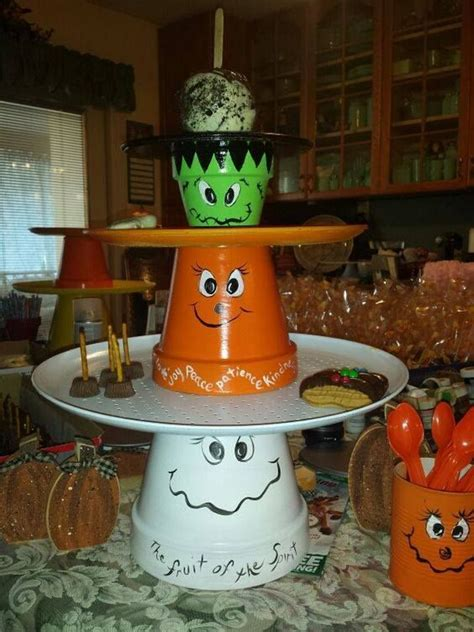 fall  halloween clay pot ideas halloween clay