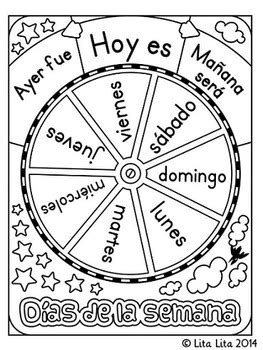 days of the week coloring pages in spanish free days of the week wheel by lita lita teachers pay