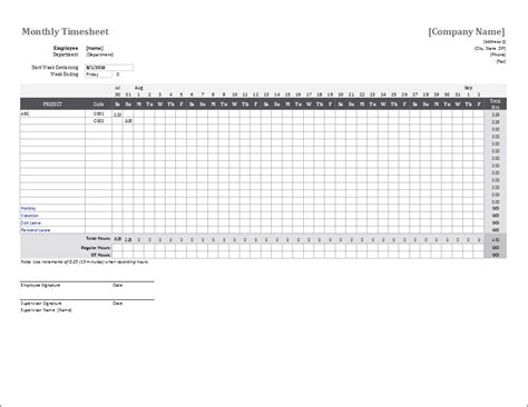 timesheet template excel monthly timesheet template for excel intended for sle