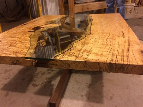 live edge slab table table of spalted maple live edge slab and cut glass