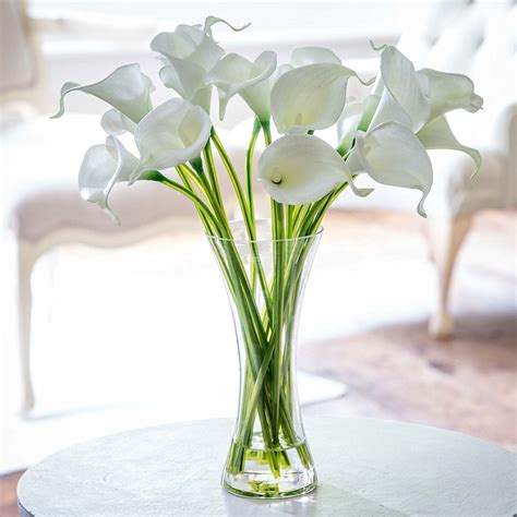 Artificial Lilies In Vase by Silk White Calla Lilies Flyingflowers Co Uk