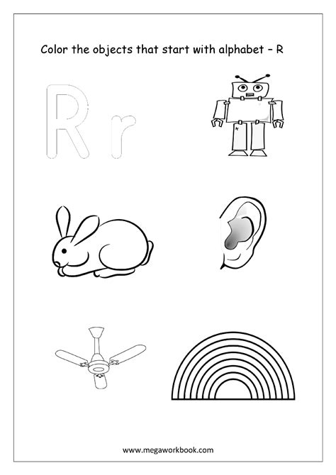 colors starting with r alphabet picture coloring pages things that start with