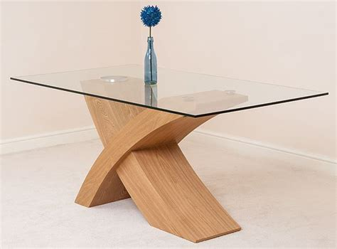 valencia oak designer modern glass dining table and
