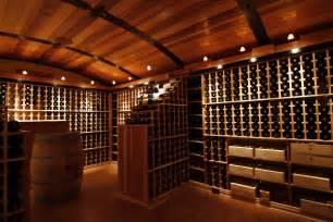 Attractive wine cellar design ideas with chic wooden rack in dark