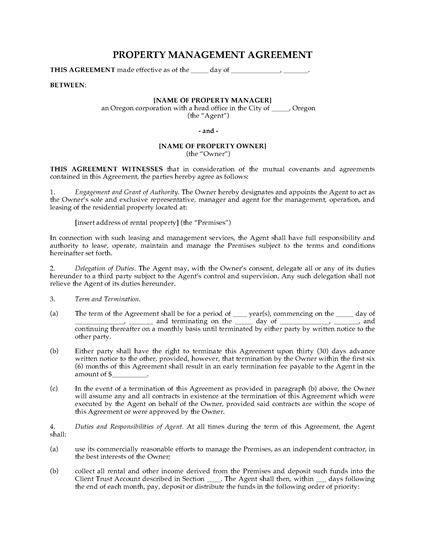 rental management agreement template oregon rental property management agreement forms