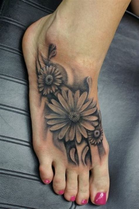 25 Black And White Flower Foot Tattoo Flower Foot Tattoos Pictures