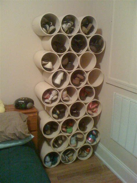 pvc pipe shoe storage diy shoe storage made from large pvc pipe ideas