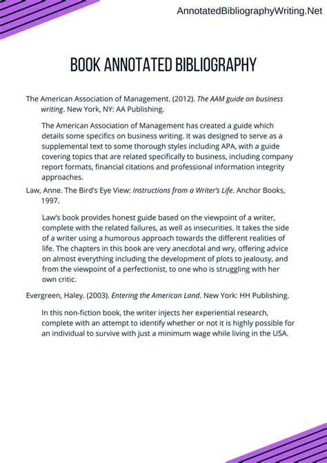 book bibliography layout annotated bibliography for a book