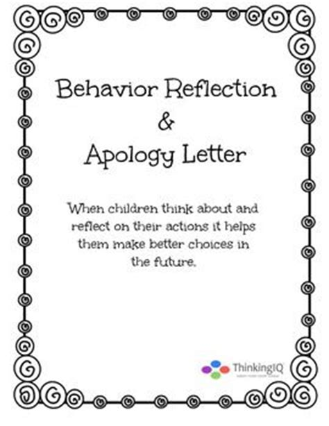 Apology Letter For Behavior To Boyfriend Behavior Reflection Sheet And Apology Letter After School Programs Teaching And Student