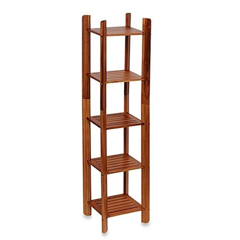 teak bathroom shelf buy taymor 174 teak 5 tier bathroom tower shelf from bed bath