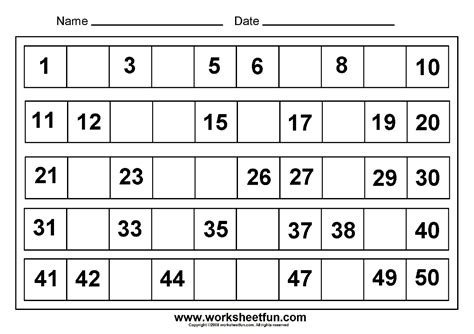 printable missing numbers worksheets missing numbers 1 to 50 8 worksheets free printable