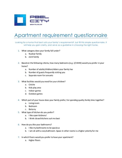 apartment requirements apartment buyer s questionnaire for easy buying
