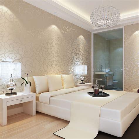 dormitorio  papel pintado beige decoracion de