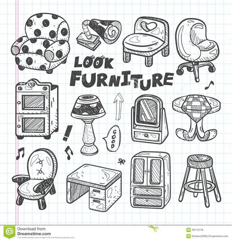 Office Floor Plan Icons doodle furniture icons royalty free stock photos image