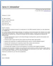 Cover Letter For Office Administrative Assistant by Office Assistant Cover Letter Sle Resume Downloads