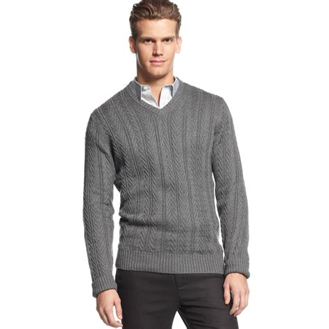 calvin klein knit sweater lyst calvin klein vneck cable knit sweater in gray for