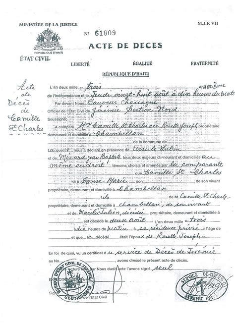 Caribbean Living Act De Deces Or Death Certificate Haitian Birth Certificate Translation Template