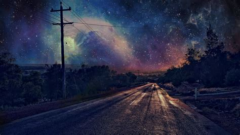 wallpaper 1920x1080 ultra hd road on starry night full hd wallpaper and background