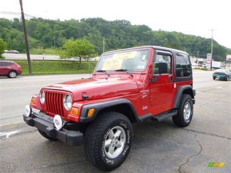 flame red jeep flame red 2001 jeep wrangler sport 4x4 exterior photo