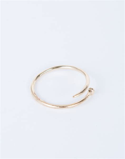 nail it together ring silver nail ring thin gold ring